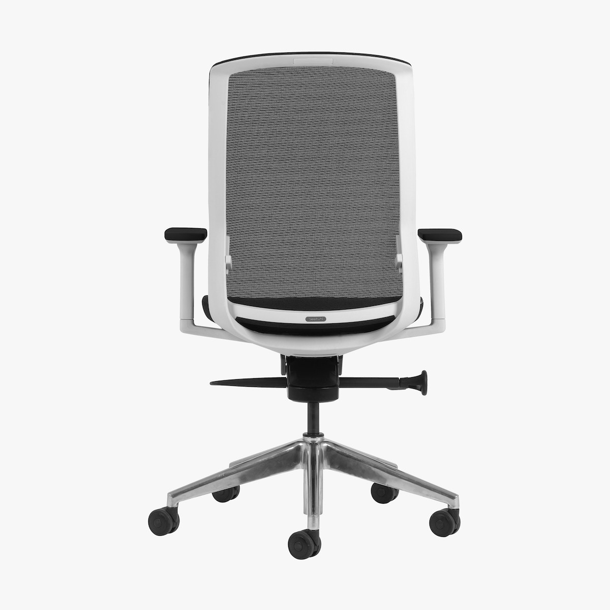 J1 Mesh Back Office Chair Polished Base White Black